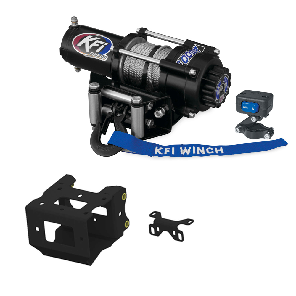 2011-2013 Polaris Sportsman 500 ATV New KFI 2500 lb Stealth Edition Winch /& Model Specific Mounting Bracket